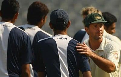 Ricky Ponting (Australian Captain, 2008) shaking hands with the Indian side, but looking dejected after the humiliating loss.