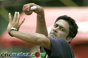 One of the greatest Leg Spinner Anil Kumble in his Delivery Stride