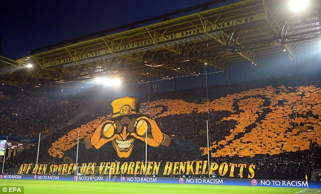Borussia Dortmund fan's Chereography ahead of their match against Malaga