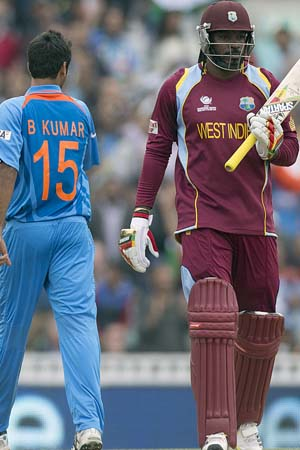 Chris Gayle was sent back cheaply by Bhuvneshwar