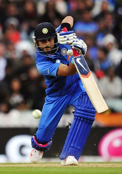 Virat Kohli plays a shot in his 100th ODI