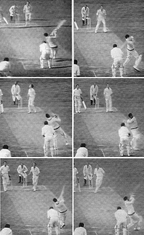 Sir Gary Sobers hits six sixes in an over