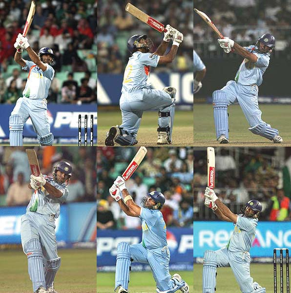 Yuvraj Singh hits six sixes in an over
