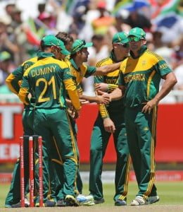 South African players celebrating after taking the wicket of Nasir Jamshed