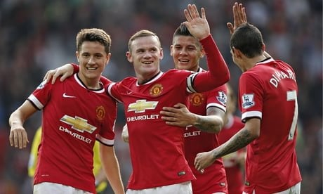 Wayne Rooney and team-mates celebrate