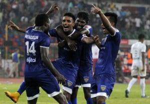 Mendoza celebrates his goal with his teammates