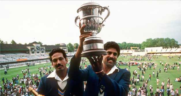 Kapil Dev and Co. lifting the 1983 World Cup