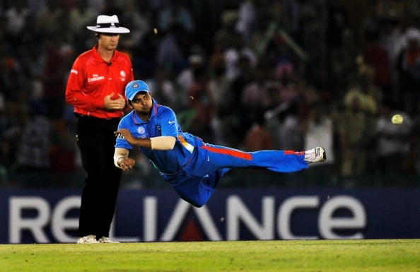 Raina flies in the field to stop ball. It's become a necessity to put in 100 percent while fielding.