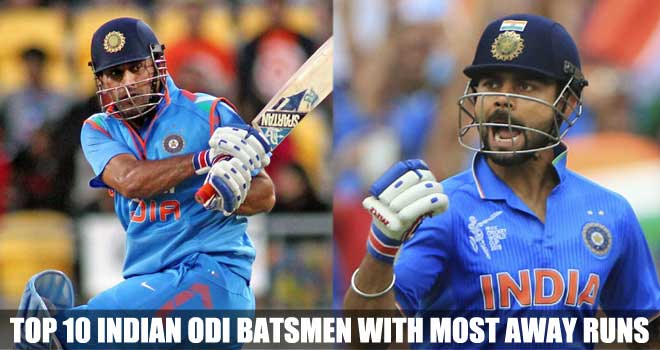 Top 10 Indian ODI Batsmen with Most Away Runs